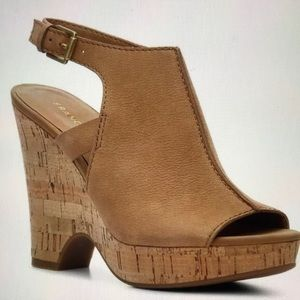 Franco Sarto Beige Gaze Suede Peep Toe Wedge